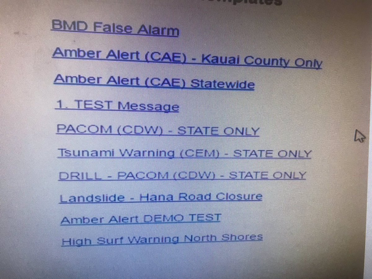 Hawaii Emergency Management alerts screen