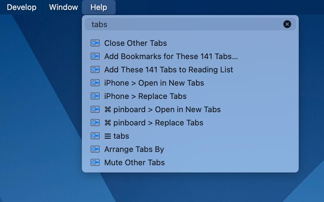 Help menu in Safari